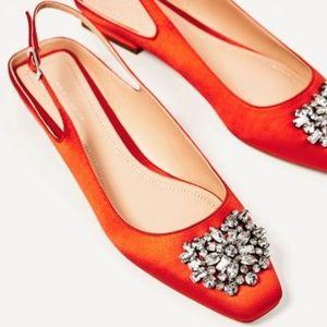 Zara | Orange Slingback Sandals with Gems